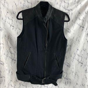 Lucky Brand Black Goat Leather Zip Up Moto Vest
